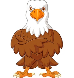 Cute eagle cartoon posing isolated vector image vector image