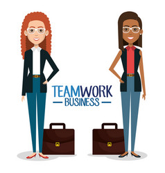 Group of businesswoman with portfolio teamwork vector