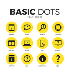 help flat icons set vector image