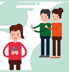 people characters with smartphone vector image