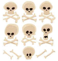 skull and cross bones set vector image