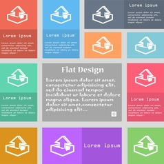 Upload icon sign Set of multicolored buttons with vector image