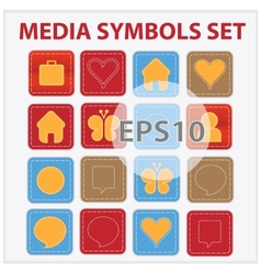 Web and media buttons collection with media vector image vector image