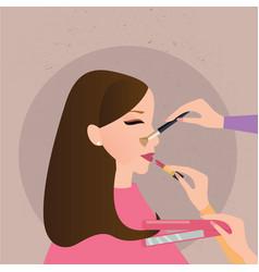 Woman girl make up preparation hand holding brush vector