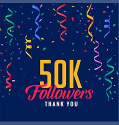50k social media followers celebration background vector