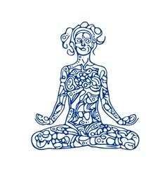 Abstract meditating woman vector image