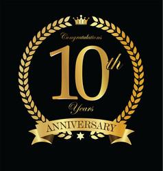 anniversary golden laurel wreath 10 years 6 vector image
