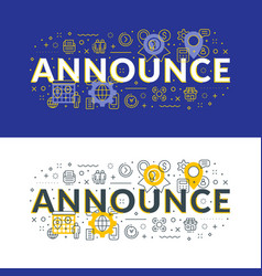 announce flat line concept for web banner and vector image