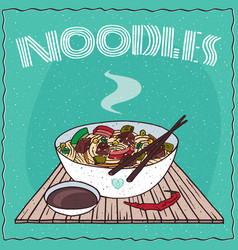 Asian noodle soup with vegetables and beef vector