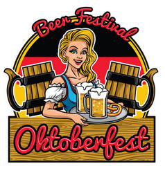 beutiful girl of oktoberfest design presenting vector image