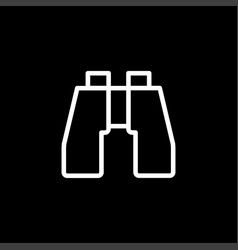 binocular icon on black background black flat vector image