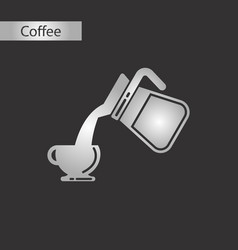 black and white style icon of cup coffee maker vector image