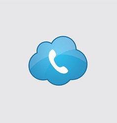 Blue cloud Phone icon vector image