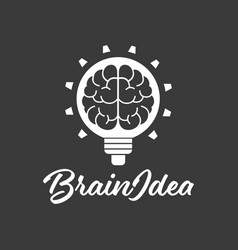 brain idea lamp design logo template vector image