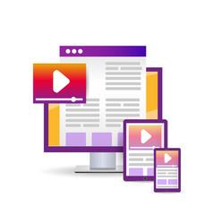 bright flat design website concept vector image