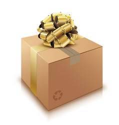 Brown cardboard box with golden bow isolated on vector
