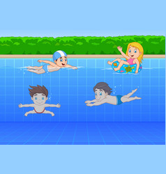Cartoon kids swimming in the pool vector