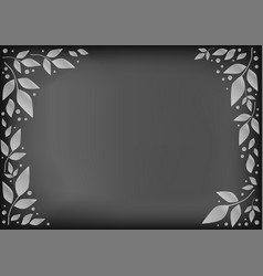 chalkboard with decorative frame of white leaves vector image