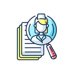 Choosing medical specialist rgb color icon vector