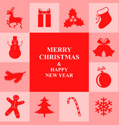 Christmas congratulatory card with symbol border vector