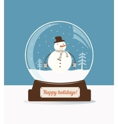Christmas snow ball with snowman vector