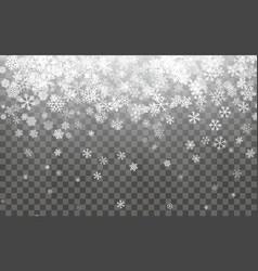 christmas snow falling snowflakes on dark vector image