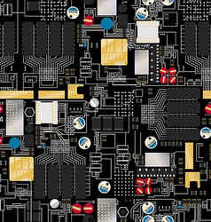 Circuit board with components and wires seamless vector