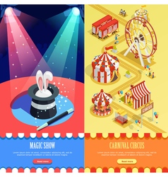 Circus Isometric Vertical Banners Webpage Design vector