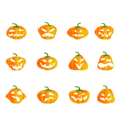 color halloween pumpkin icons vector image