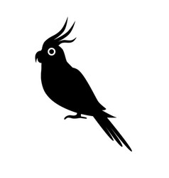 corella parrot silhouette icon in flat style vector image