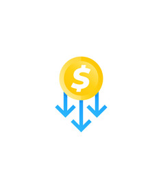 Cost reduction icon vector