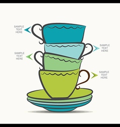 creative tea cup and plate info-graphics design vector image
