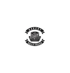 cupcake ribbon bakery logo vector image