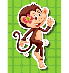 Cute monkey with flower vector