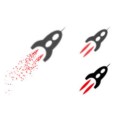Disappearing dot halftone starship icon vector