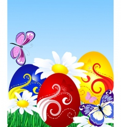 Easter eggs on the lawn vector image