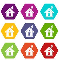 eco house concept icon set color hexahedron vector image