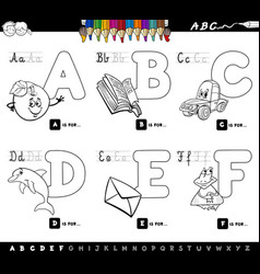 educational alphabet letters coloring book vector image