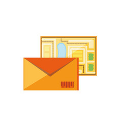 Envelope mail with map guide vector