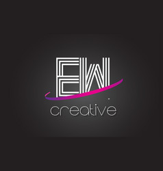 Ew e w letter logo with lines design and purple vector