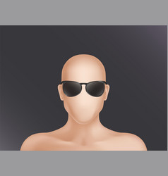 Faceless human model head in black glasses vector