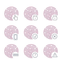 Fingerprint scanner icons on white background vector image