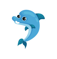 Flat icon of smiling blue dolphin marine vector