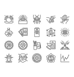 Fortune telling line icon set vector