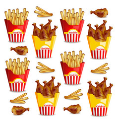 French fries and chicken wings realistic vector