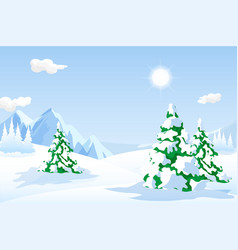 great snowy landscape with hills and pine trees vector image