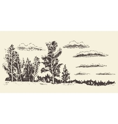 Hand drawn landscape forest meadow clouds vector image