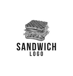 hand drawn sandwich fast food logo designs vector image