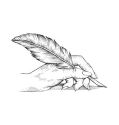Hand with pen feather engraving vector