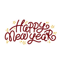 happy new year greeting text and doodle stars vector image